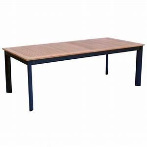 Table Bois Et Noir : table extensible de jardin en aluminium noir et bois teck ~ Dailycaller-alerts.com Idées de Décoration