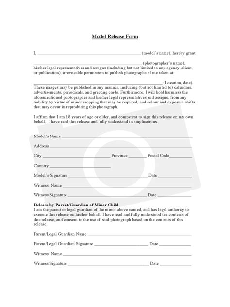 Standard Model Release Form Template by Model Release Form 8 Free Templates In Pdf Word Excel