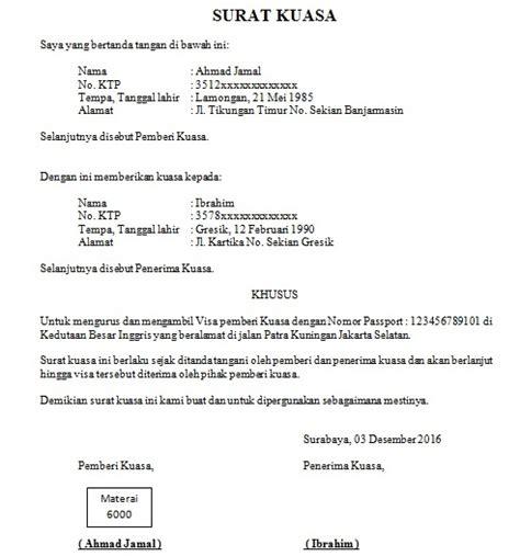 contoh surat kuasa pengambilan visa  buat surat