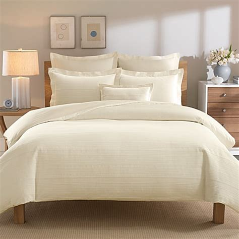Ivory Duvet Cover by Real Simple 174 Linear Ivory Duvet Cover Bed Bath Beyond