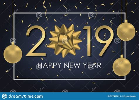 2019 Happy New Year Background With Gold Gift Bow Numbers