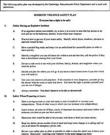 Domestic Violence Safety Plan Sample