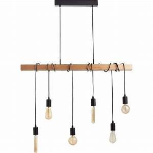 Suspension Style Industriel : suspension e27 style industriel townshend bois h tre 6 x 60 w eglo leroy merlin ~ Teatrodelosmanantiales.com Idées de Décoration