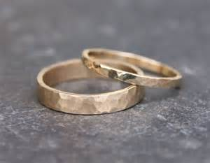 hammered wedding band hammered gold wedding rings 14k gold ring by torchfirestudio