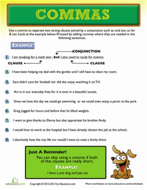 use of a comma worksheet education