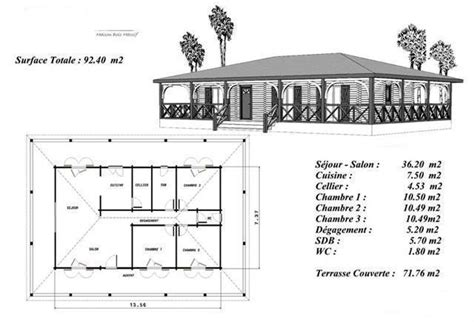 plan maison bois mod 233 le sapin terrasse couverte a balustres