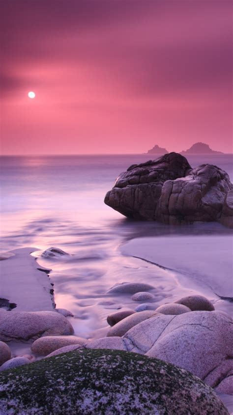 wallpaper porth nanven beach rocks coastline sunset
