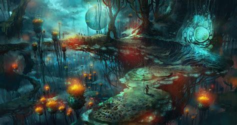 wallpaper fantasy art mushroom nebula universe magic