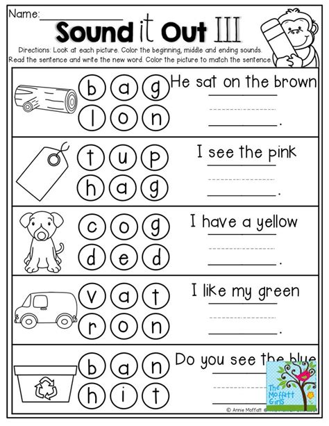 sound it out dot the sounds write the word and read the simple sentence kinderland