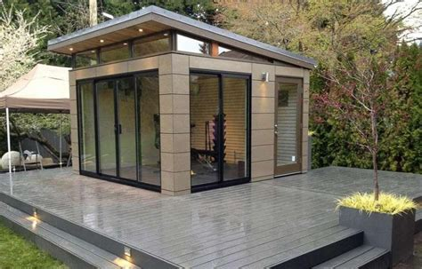 exterior sliding glass door modern shed design ideas feat sloping roof feat brown outdoor