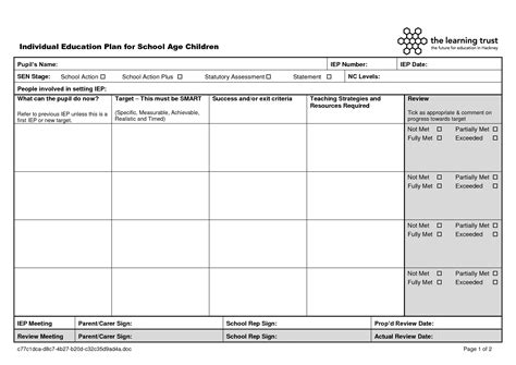 education templates individual education plan template