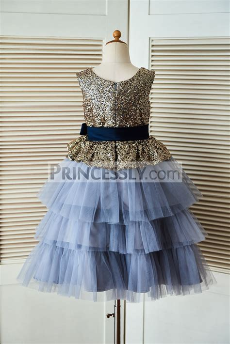 gold sequin blue cupcake tulle flower girl dress  navy