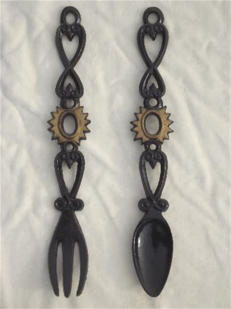 Decorate with the spoon and fork wall art. Large black iron spoon & fork wall art, vintage Decorama cast iron plaques
