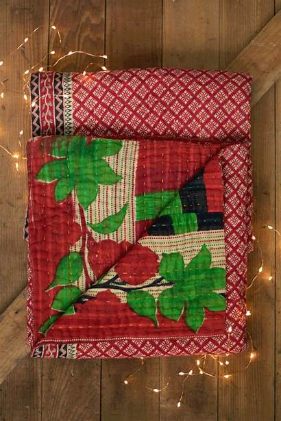 Throws Holiday Blankets Kantha Quilts Silk Cotton