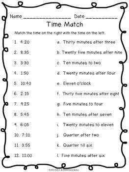 telling time pack worksheets task cards