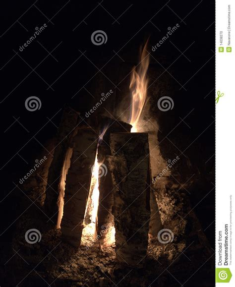 Logs Burning In Fireplace Stock Photo Image 14038270