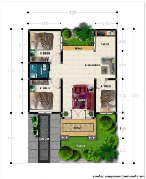 denah rumah  lantai ukuran   bedroom denah rumah