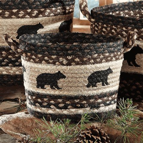 black bear braided utility basket small