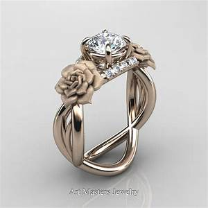 nature inspired 14k rose gold 10 ct white sapphire With rose gold engagement ring and wedding band
