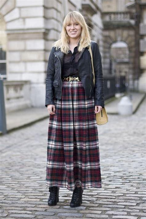 long plaid skirt  black ankle boots lace  semi