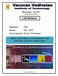 Ee6461 Electrical Engineering  U0026 Control System Lab Manual