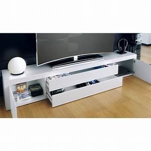 Meuble Bas Blanc Laqué : meuble bas pour tv blanc laqu pas cher meubles discount ~ Edinachiropracticcenter.com Idées de Décoration