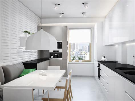 Modern Zoning In Ukrainian Apartment by Black White Kitchen Diner