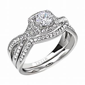 stainless steel clear round cubic zirconia women wedding With wedding ring sets women
