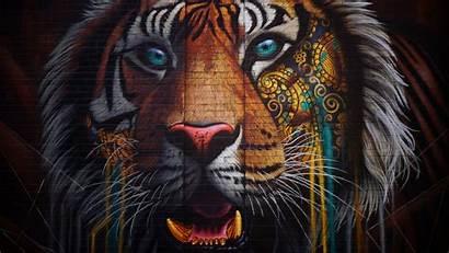 Tiger Graffiti Street Colorful Wall 4k Background