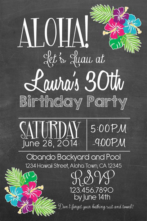 Printable Hawaiian Luau 30th 40th 50th Birthday Chalk