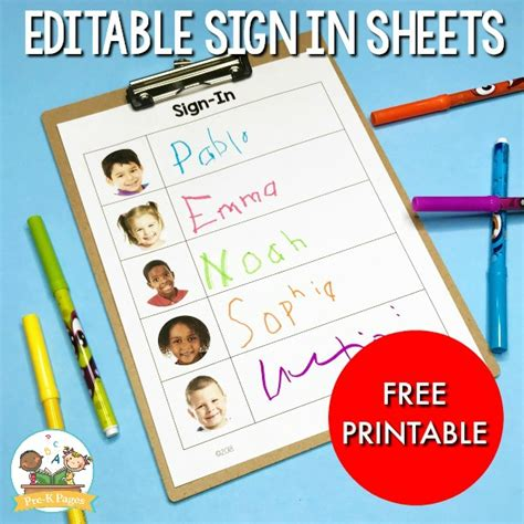 free daily sign in sheet for preschool pre k pages 716 | Editable Sign In Sheets Freebie for Preschool
