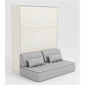 Armoire lit escamotable stone 160x200 blanc canape achat for Canape lit couchage 160x200