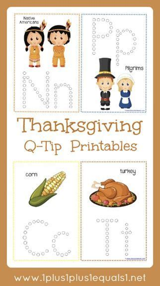 thanksgiving q tip painting printables motor skills