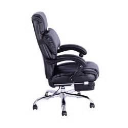 executive reclining office chair footrest black aosom ca
