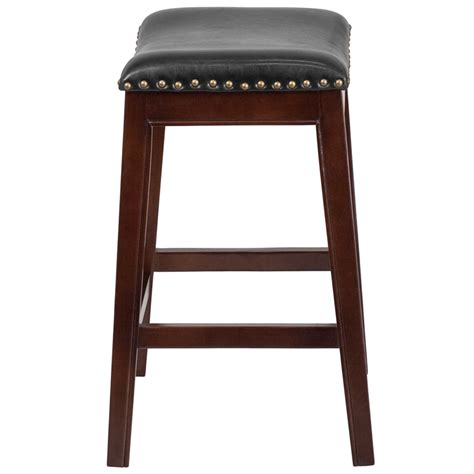 backless leather counter stools black 26 high backless cappuccino wood counter height stool 7556