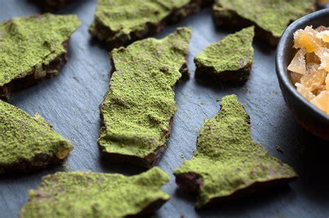 chocolate ginger bark  green tea powder recipe nyt