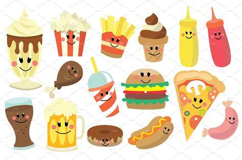 fast food clipart set illustrations creative market
