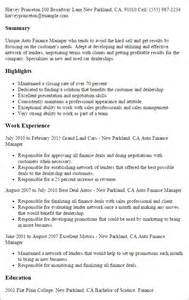resume of a finance manager professional auto finance manager templates to showcase your talent myperfectresume