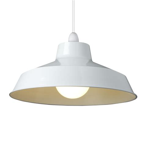 small dual fitting pluto metal lighting pendant shades white