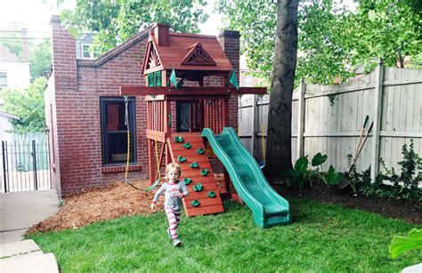 Small Backyard Swing Sets sweet small yard swing set solution