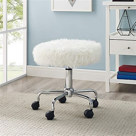 white fur office chair buy faux fur backless office chair in white from bed bath