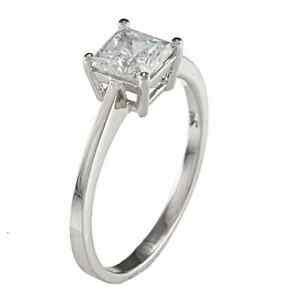 square solitaire 925 sterling silver princess cut cz engagement wedding ring ebay