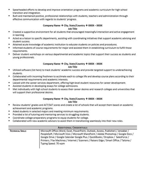 Academic Advisor Resume academic advisor resume exle and tips zipjob