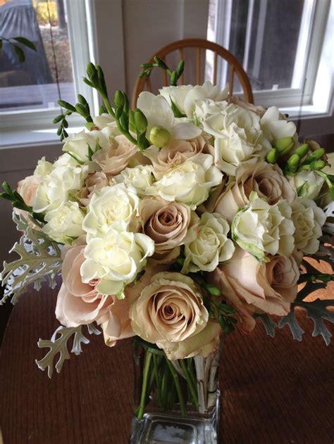 Beige Wedding Decor - ivory and beige wedding flowers two birds floral