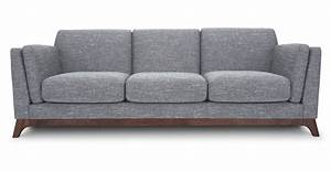 Modern Sofa Couch : gray sofa 3 seater with solid wood legs article ceni modern furniture scandinavian furniture ~ Indierocktalk.com Haus und Dekorationen
