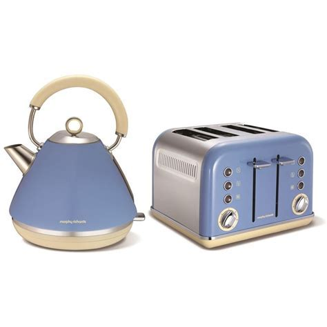 MORPHY RICHARDS ACCENTS BLUE STAINLESS STEEL KETTLE JUG