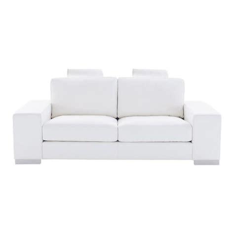 canap en cuir blanc canapé 2 places en cuir blanc daytona maisons du monde