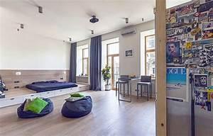unusual layout defining a 58 sqm open studio apartment in With modern studio apartment design layouts