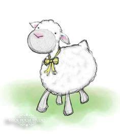 print  original ink drawing illustration lamb sheep farm