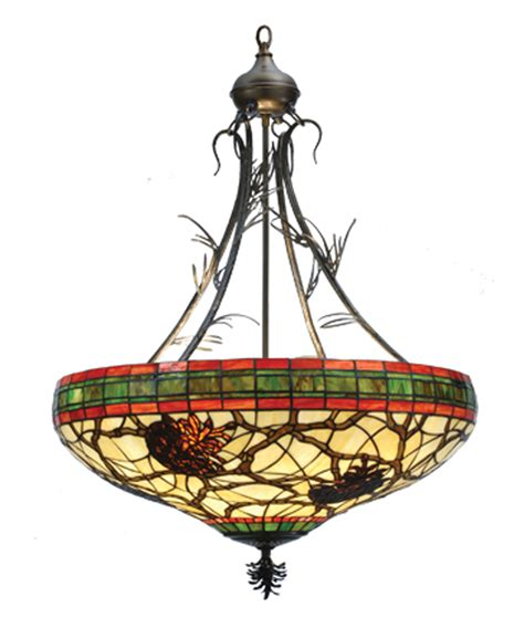 stained glass inverted pendant light meyda 68068 burgundy pinecone inverted pendant